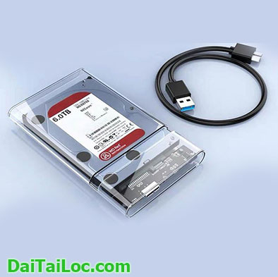 Hdd box 2.5 usb 3.0 Shengwei SAT-401 trong suốt